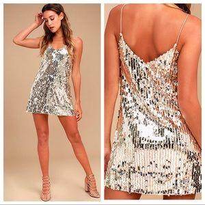 Lulu's Shine Art Silver Sequin Mini Dress